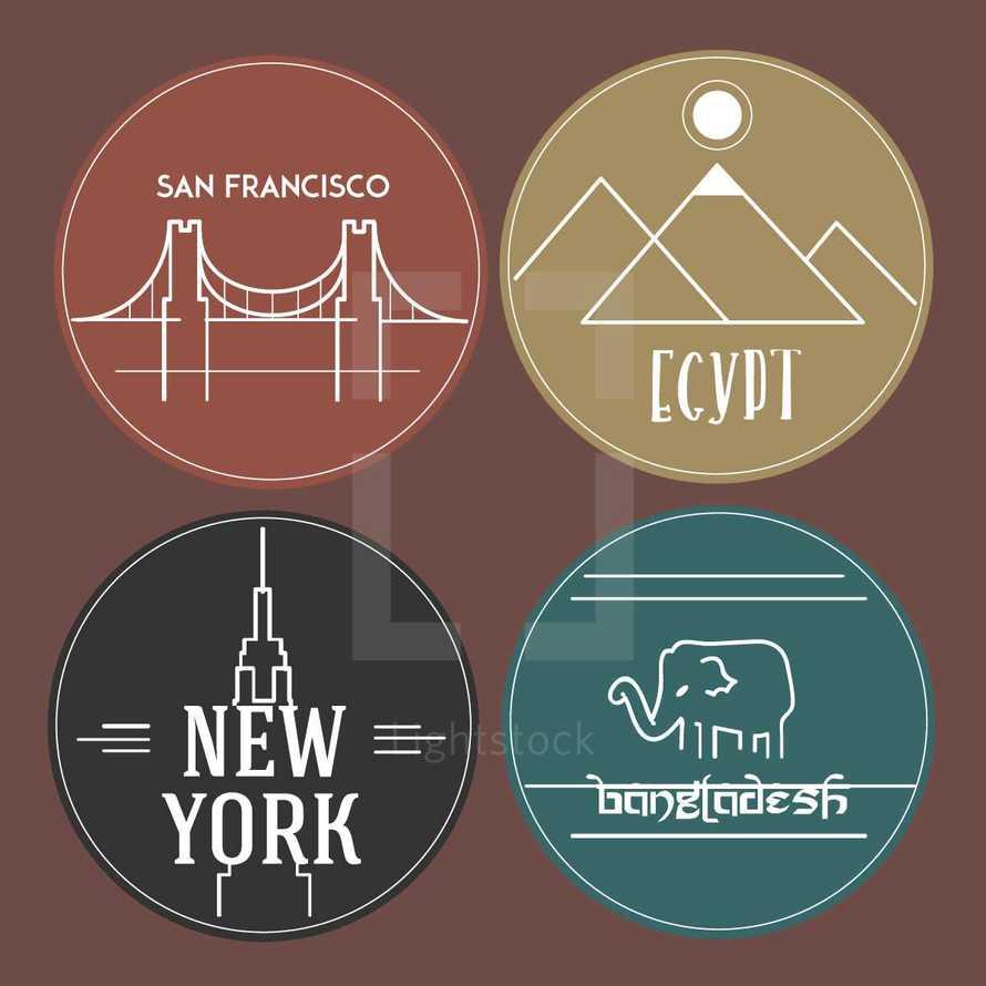 travel, stickers, New York, Bangladesh, Egypt, San Francisco, badge