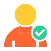 add a friend. Person user icon with check mark symbol. Member sign. Avatar button. Man pictogram. Web internet icon created in trendy flat style. Quick and easy recolorable shape isolated on white background. The graphic element saved as a vector illustration in the EPS file format for used in your design projects.
