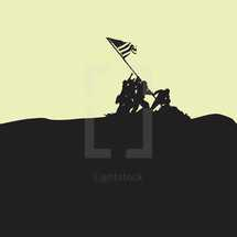 Iwo Jima statue silhouette minimal graphic depiction for Memorial and Veteran's day