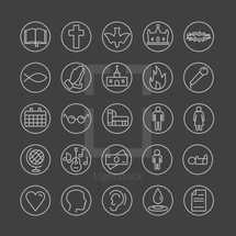 Simple line icons set, church media, iconic, calendar, prayer, money, music, worship, water, baptism, baby, child, man, woman, marriage, family, book, Bible, missions, bible study, fire, mic, fish, cross, dove, crown, crown of thorns, heart, books, paper, praying hands.