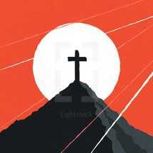 a cross on a mountain