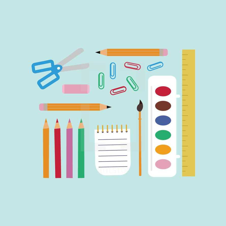 scissors, school supplies, paper clips, back to school, school, watercolors, paint brush, crayons, art supplies, notepad, pencil, icons, eraser