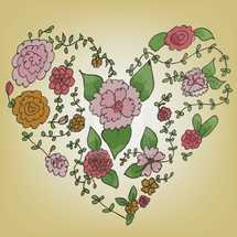hand drawn flowers in the shape of a heart