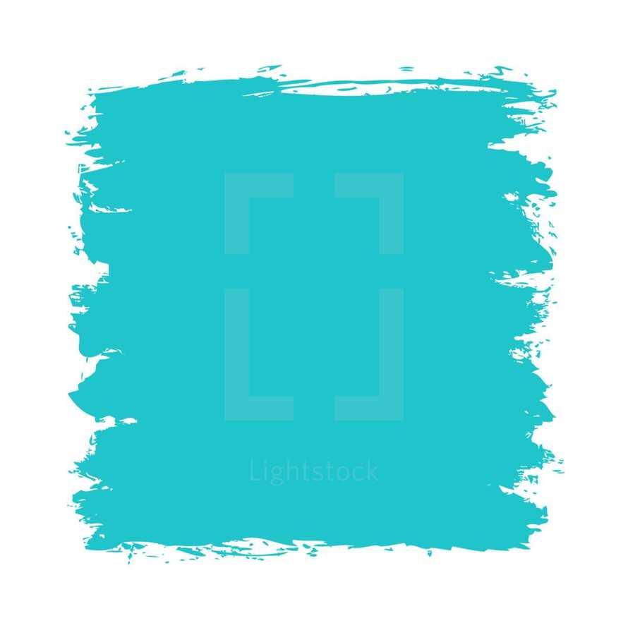 The blue green paint brush stroke is drawn by hand. Paintbrush drawing on canvas. Hand-drawn brushstroke teal turquoise texture on paper. Square shape. The graphic element saved as a vector illustration in the EPS file format for used in your design projects.
