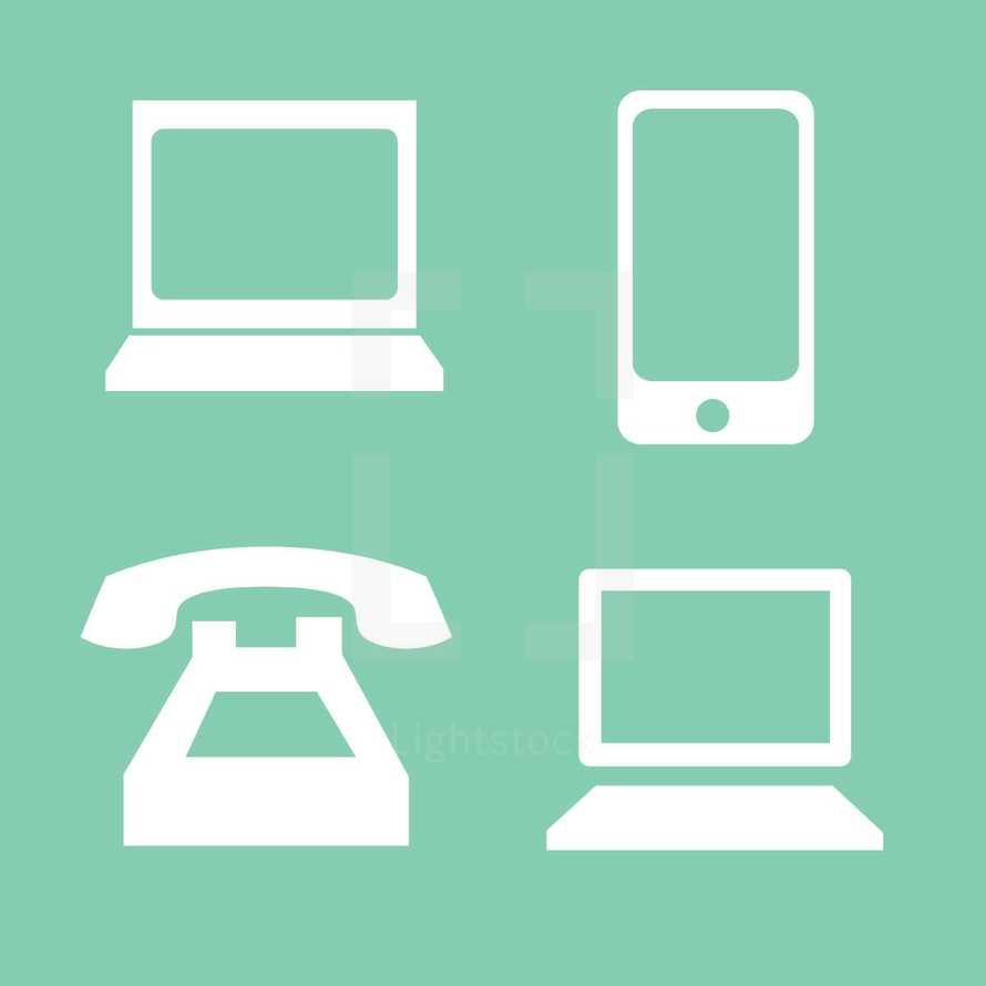 phone, laptop computer, cellphone, icons, computer, electronics
