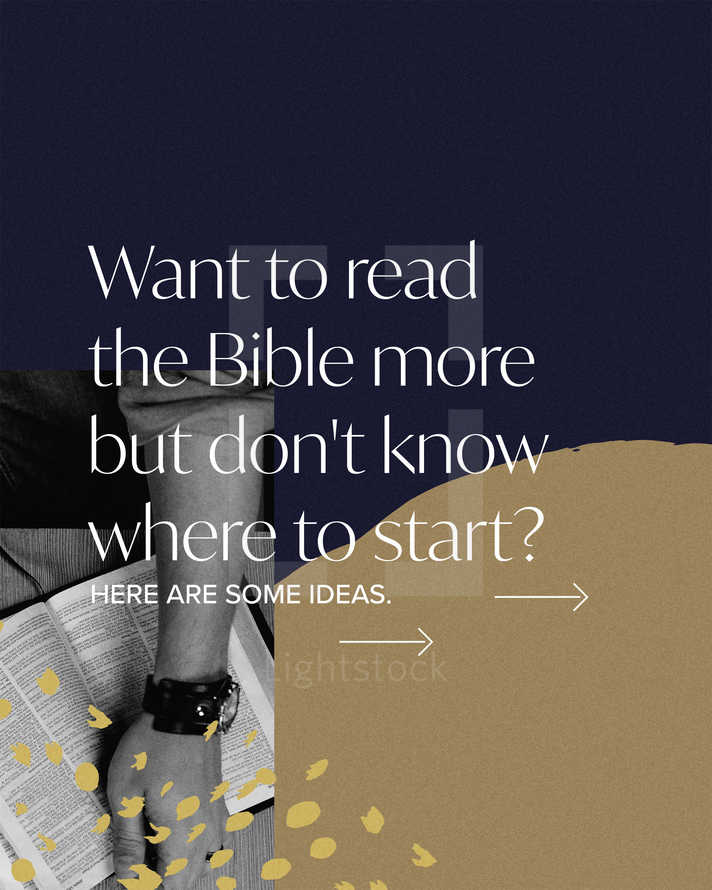 Want to read the Bible more but don't know where to start? Here are some ideas. (1) Keep a Bible in the car. Arrive to work early and read a bit. (2) Get the Bible on audiobook and listen while driving. (3) Start with the Proverb of the day. If it's the 5th of the month, read Proverbs 5. (4) Start in the New Testament: Matthew. Sometimes the Old Testament can discourage new Bible readers.