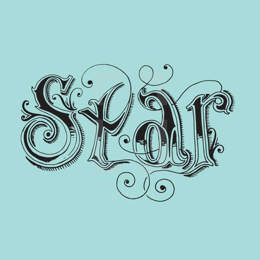 hand drawn lettering of the word star