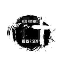 Cross of Jesus. Christ is risen. Easter illustration.