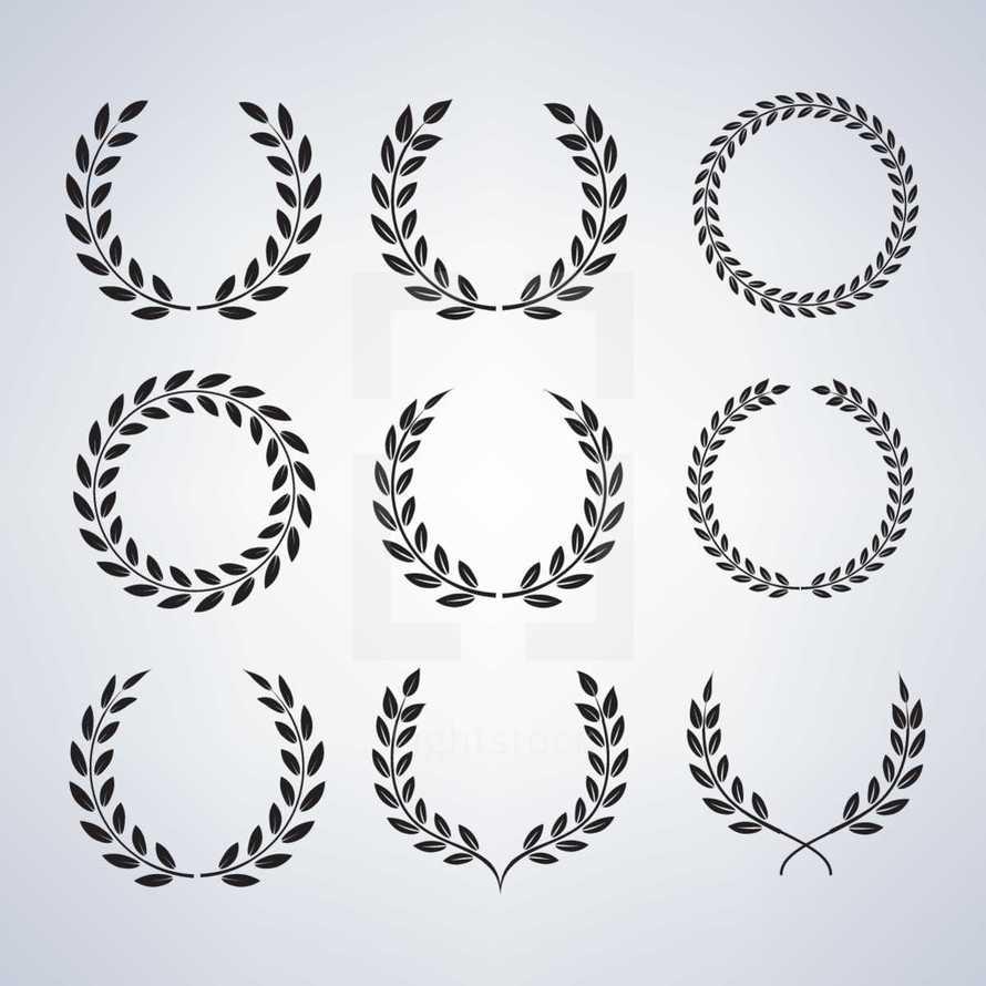 Selection of  Laurel Wreaths - victors crowns, nine variants.