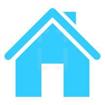 House icon or Home symbol created in trendy flat style. The graphic element saved as a vector illustration in the EPS file format for used in your design projects. The shape is in blue color.