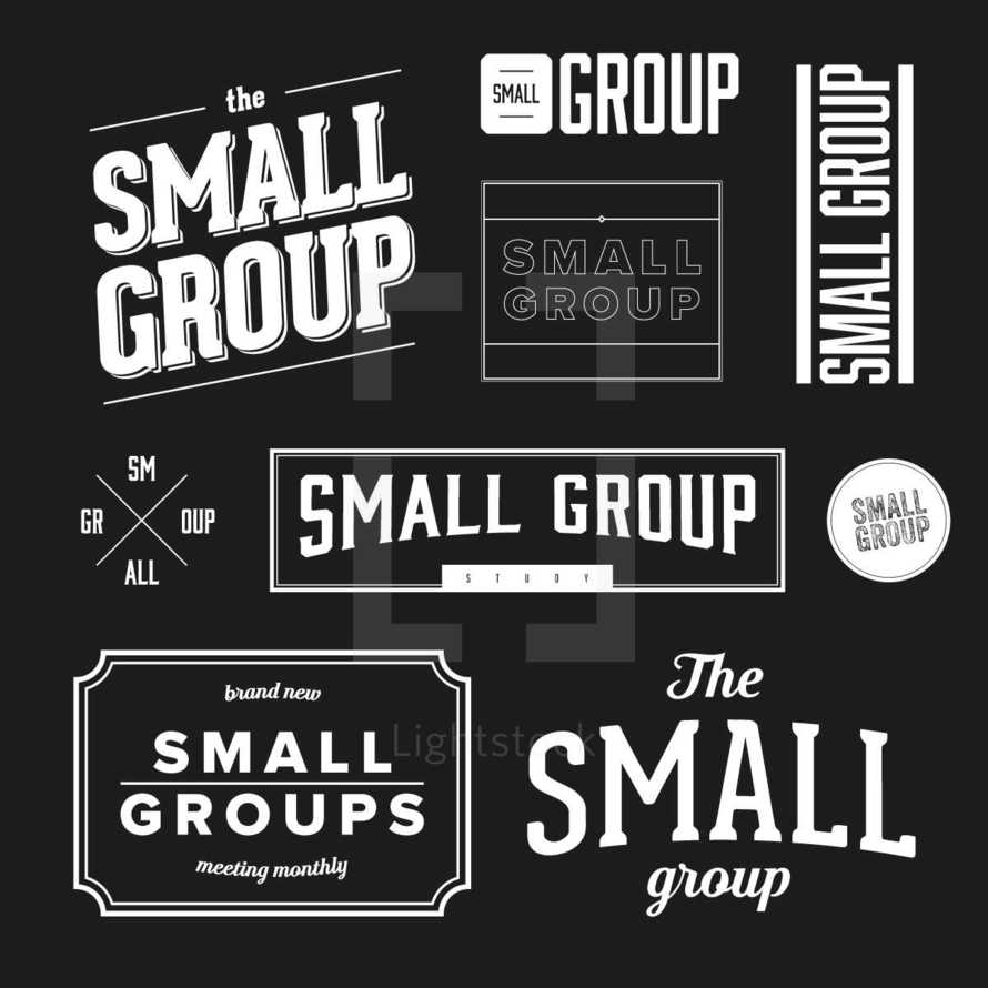 small group vector badges set.