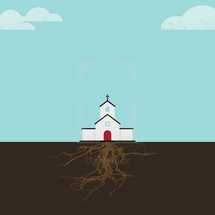 illustration of church with roots.