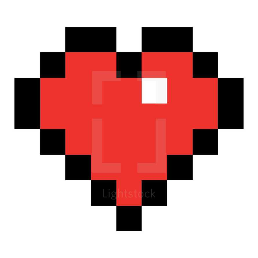 Red heart symbol created in the style of pixel art. Quick and easy recolorable shape isolated from the background. The design graphic element saved as a vector illustration in the EPS file format for used in your design projects.