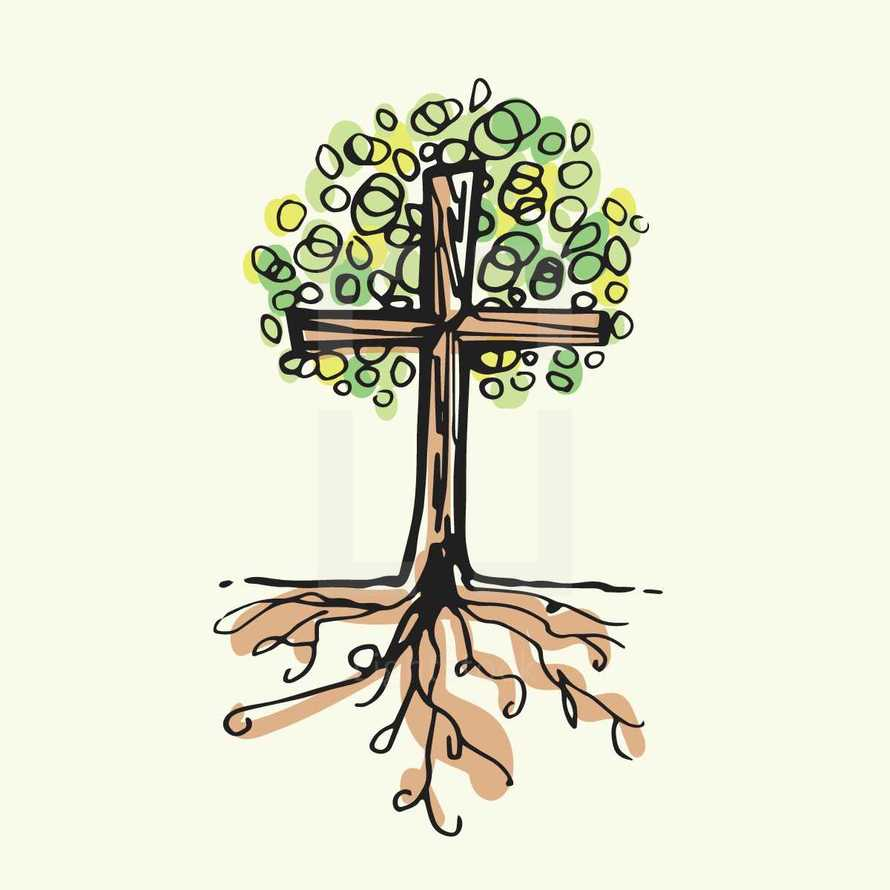 cross tree with roots