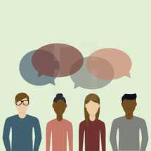 illustration of a group of people talking.