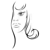 woman's face. Half woman face with long hair. Recolorable shape isolated from background. Vector illustration is a graphic element for artistic design.