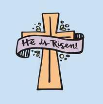 He is risen banner on a cross