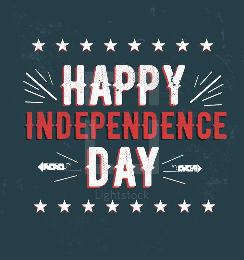 Happy Independence Day Typography Lettering