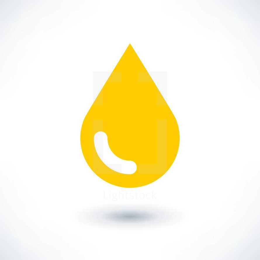 Yellow gold drop icon with gray shadow in flat style. Graphic element for design saved as an vector illustration in file format EPS