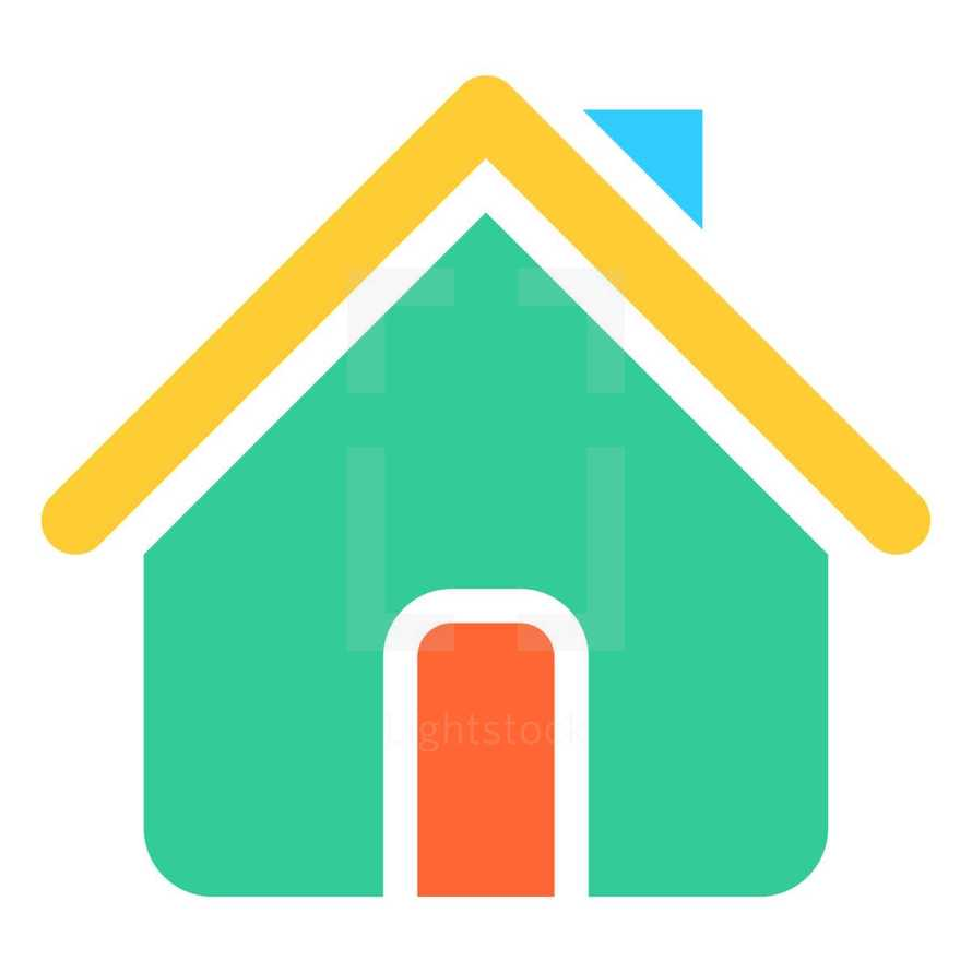 House icon or Home symbol created in trendy flat style. The graphic element saved as a vector illustration in the EPS file format for used in your design projects. The shape is in yellow, blue, red and green colors,
