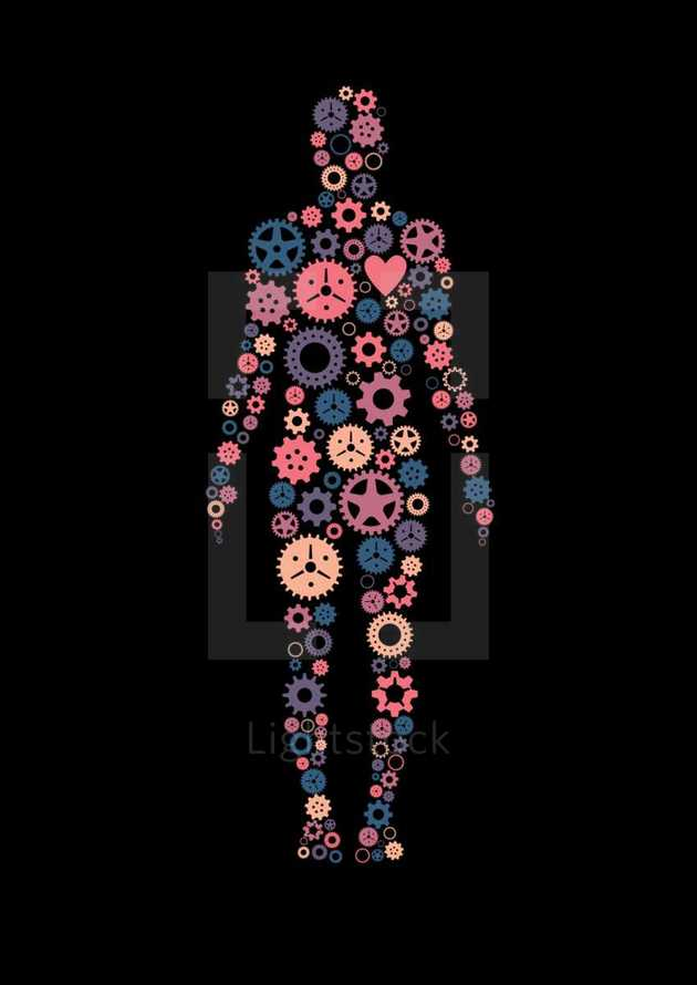 Gears or cogs of various colors in the shape of a human body.  Colors and cogs are editable in vector software.