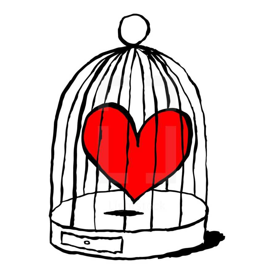 Red heart is sad in cage for birds. Funny and amusing greeting card for feast of Saint Valentine Day. Sketch drawing was drawn with the brush and ink. Graphic element is saved as a vector illustration