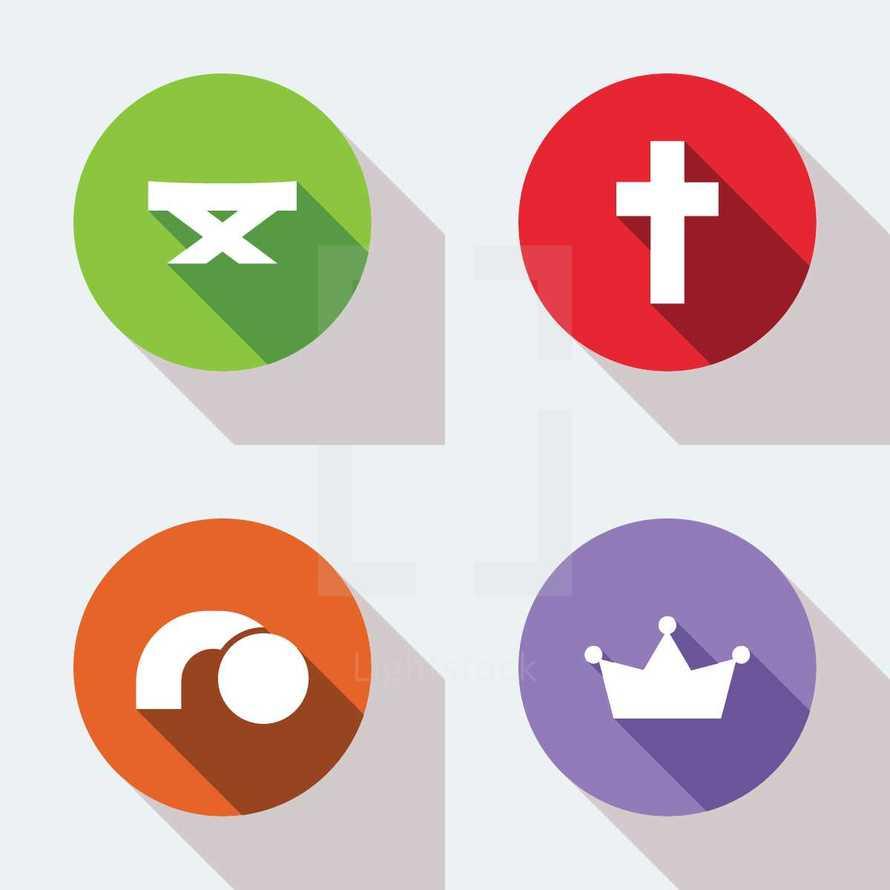 modern christian faith icons with flat shadows.