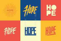Hand drawn lettering and vector type of the word Hope