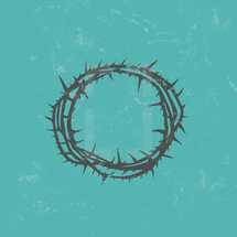 Silhouette Isolated Crown of Thorns Design with Distress Grunge Background