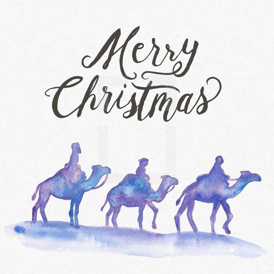 Water color illustration with Merry Christmas hand lettering with three wise men on camels.  Water color texture background.