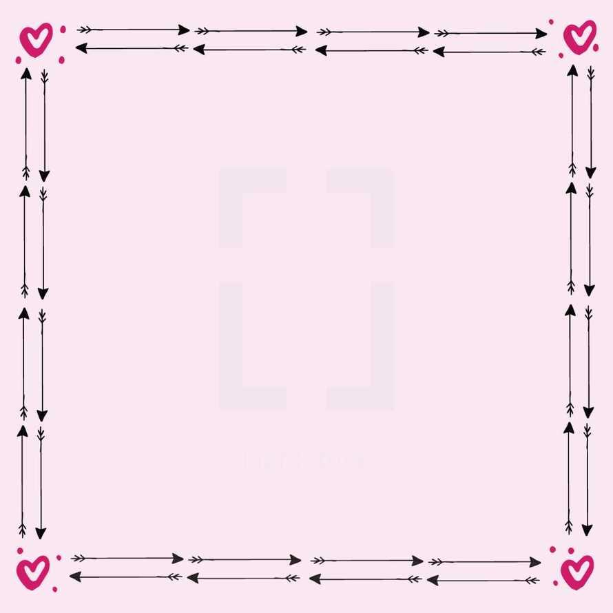 heart and cupid's arrow frame