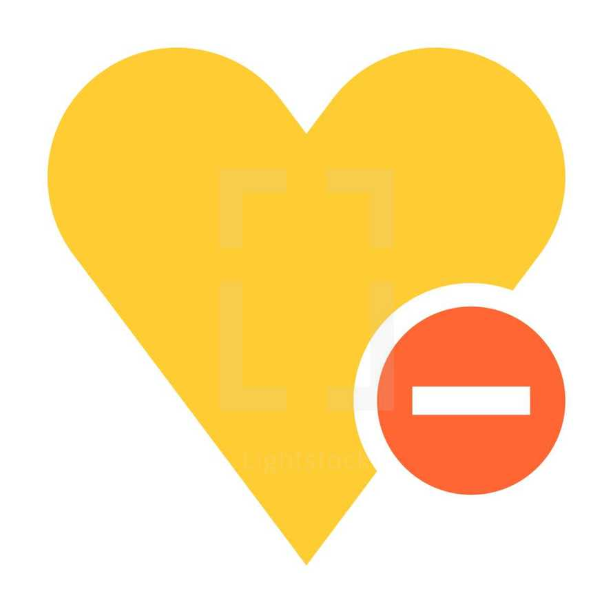 Yellow heart icon favorite sign liked button with red minus pictogram created in trendy flat style. Quick and easy recolorable shape isolated from the white background. The design graphic element saved as a vector illustration in the EPS file format for used in your design projects.