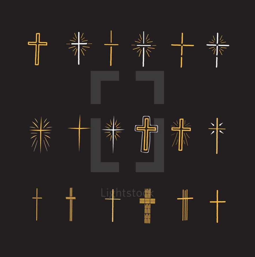 Vector pack of 18 different cross icons.  These icons range in style from a simple cross, vintage cross, to a hand drawn cross with rays. These crosses will make great options to use for generic church logos or for church designs needs.