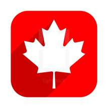 The Maple Leaf symbol with gray drop long shadow on red square shape in flat style. Canadian flag icon. This design graphic element is saved as a vector illustration in the EPS file format.