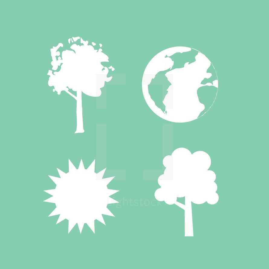 tree, sun, planet, earth, icon