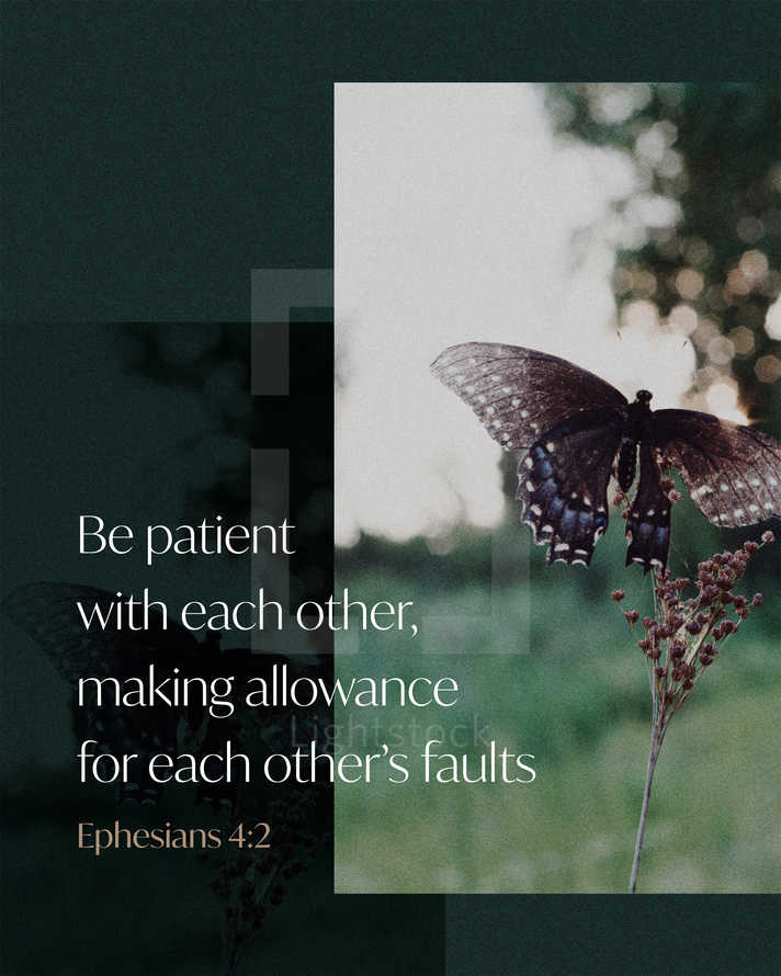 Be patient with each other, making allowance for each other's faults. – Ephesians 4:2