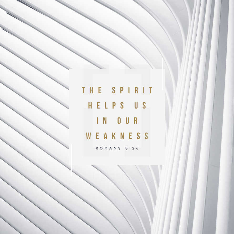 The Spirit helps us in our weakness. – Romans 8:26