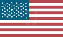 United States of America Flag with each of the 50 states represented as an icon in place of a star.  The states are placed in order of the time they entered the union.  In order to form a more perfect union...one nation under God.