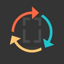 Arrow reload, refresh, rotation, loop, repetition, reset sign created in flat style. The graphic element saved as a vector illustration in the EPS file format for used in your design projects.