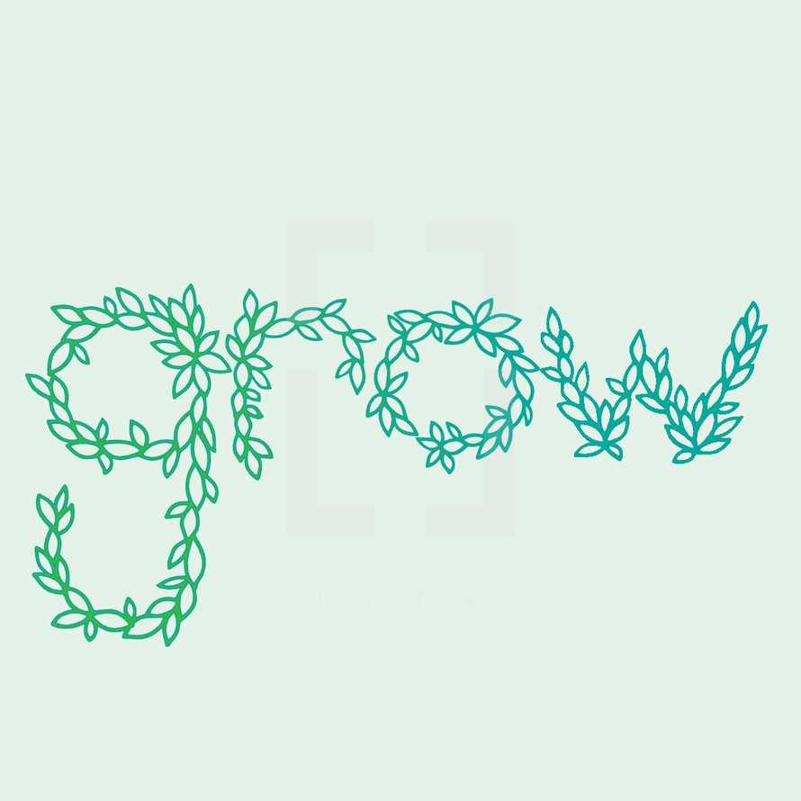word grow out of leaves