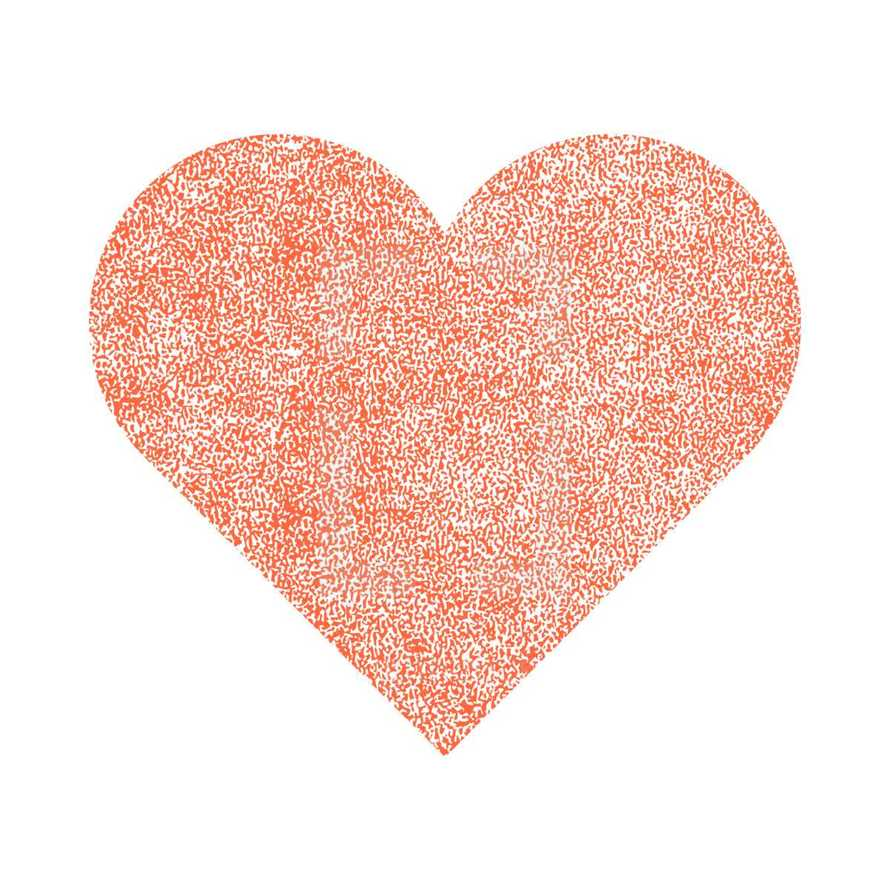 Red heart with effect paint texture. Quick and easy recolorable shape isolated from the white background. The design graphic element saved as a vector illustration in the EPS file format for used in your design projects.