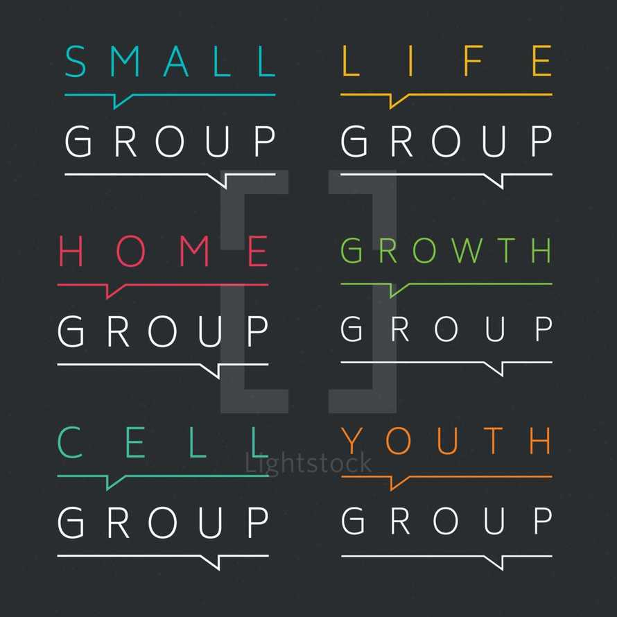small group, youth group, cell group, home group, growth group, life group - ministry logos