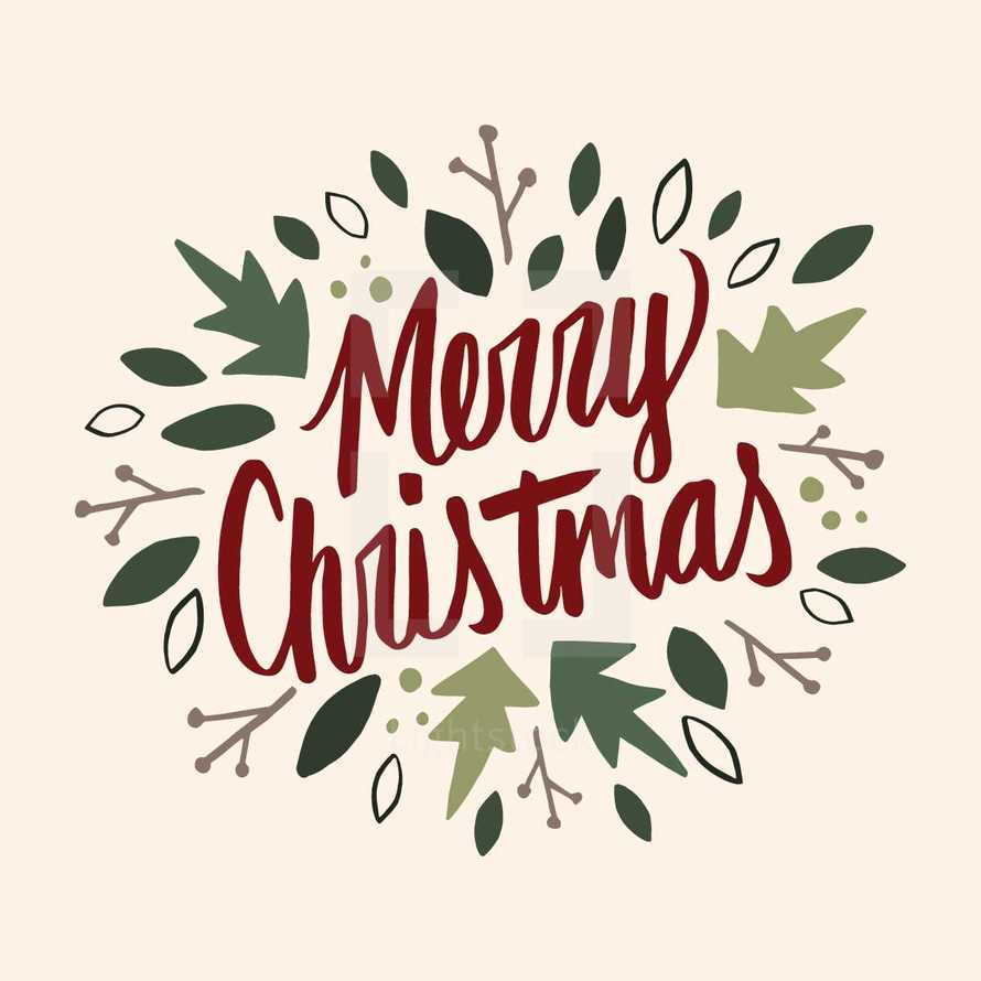 hand drawn Merry Christmas typography.
