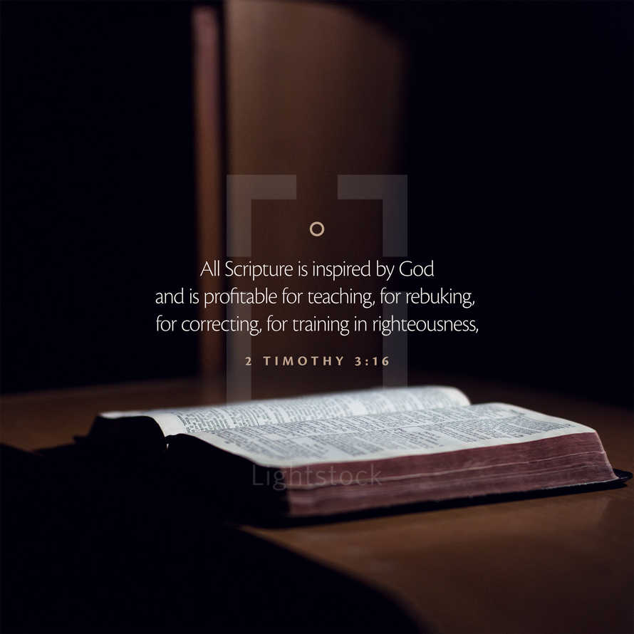 All Scripture is inspired by God and is profitable for teaching, for rebuking, for correcting, for training in righteousness, – 2 Timothy 3:16