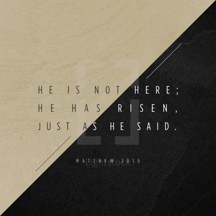 He is not here; he has risen, just as he said. – Matthew 28:6