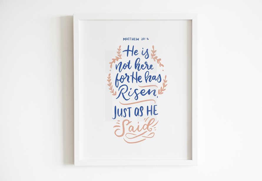 Hand lettered Digital Print - Matthew 28v6 Bible verse