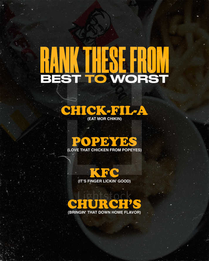 Rank these from best to worst: Chick-fil-a, Popeyes, KFC, Church's