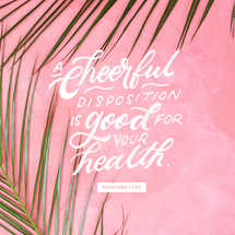 A cheerful disposition is good for your health. – Proverbs 17:22