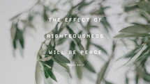 The effect of righteousness will be peace. – Isaiah 32:17
