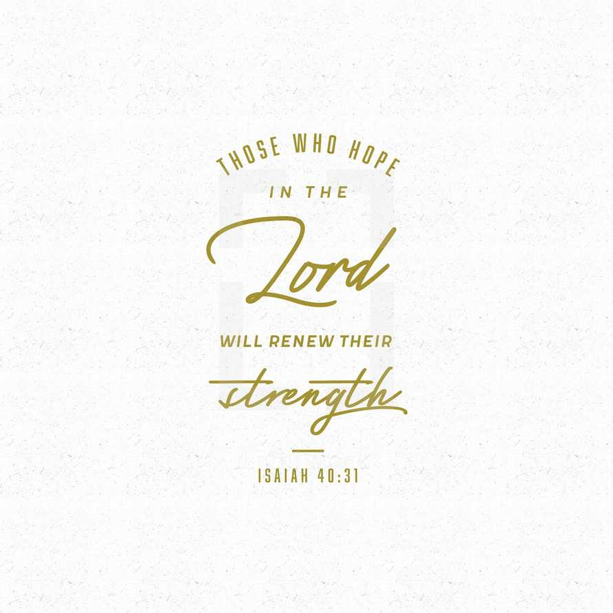 Those who hope in the Lord will renew their strength. – Isaiah 40:31